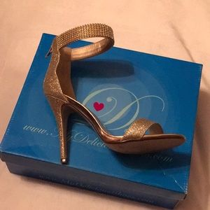 Gold Ankle Strap Heels